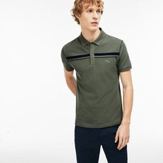 e650ddb361cc Lacoste Polos Mens Army/Navy Blue Regular Fit Contrast Bands Piqué Polo  Shirt Outlet Pique