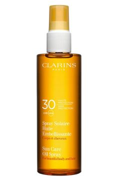 Main Image - Clarins Sunscreen Care Oil Spray SPF 30 for Skin & Hair