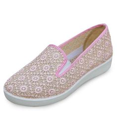 Big Size Lace Mesh Breathable Soft Sole Comfortable Slip On Flat Shoes