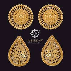 Kanpasha C & D.  ...and here are the next two designs, Kanpasha C & D, carrying forward the ongoing theme of time-defying, age-defying, genre-defying, large ear studs. Remember that each has a matching pendant with it. Hallmarked and hand-wrought in pure 22K gold.