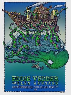 Eddie Vedder Gig poster Special guest Glen Hansard June 11, 2017 Marquee, Cork, Ireland