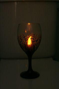 Hand painted glass tree pattern - www.emilyhunterhiggins.co.uk