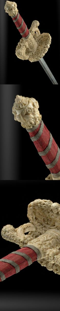 Extremely rare early smallsword with finely carved ivory hilt, Sinhalese, ca. 1680.