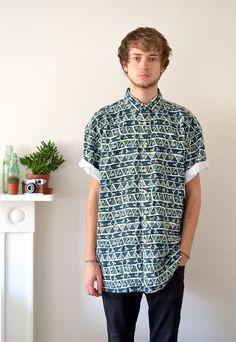 90s Vintage Green Short Sleeve Printed Flannel Shirt | Ica Vintage | ASOS Marketplace