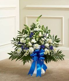 Blue & White Sympathy Floor Basket - Funeral Flowers - http://yourflowers.us/?p=227