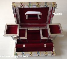 Decorative Indian/Moroccan Book Style Big Jewellery Box with Mirror - Hand Made