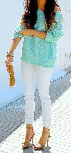 mint sweater + white skinnies + heels