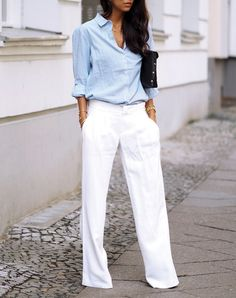 why not try on a pair of palazzo pants with your platforms? Rocking a heel with a longer hemline automatically lengthens your legs and makes you appear taller. An added bonus: The wider leg provides contrast to your waist for a more slender (and super-photogenic) appearance.