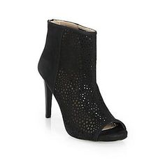 $435, Black Cutout Suede Ankle Boots: Stuart Weitzman Perforated Suede Peep Toe Ankle Boots Black. Sold by Saks Fifth Avenue. Click for more info: https://lookastic.com/women/shop_items/80187/redirect