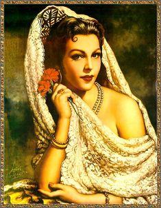 Retro Mexico: Jesus Helguera (May 1910 – December was a Mexican… Spanish Woman, Spanish Art, Spanish Ladies, Spanish Gypsy, Mexican Artwork, Mexican Folk Art, Mexican Paintings, Art Latino, Jorge Gonzalez