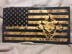 United States Air Force Rustic Wooden Flag #housewares #homedecor #woodworkingcarpentry #usaf #airforce #military #america #usa #woodburned