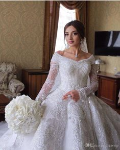 2018 Ball Gown Wedding Dresses Dubai Off Shoulder Lace Tulle Applique Long Sleev. 2018 Ball Gown Wedding Dresses Dubai Off Shoulder Lace Tulle Applique Long Sleeve Wedding Gowns Sweep Train Sequins Vint. Western Wedding Dresses, Wedding Gowns With Sleeves, Lace Ball Gowns, Affordable Wedding Dresses, Long Sleeve Wedding, Bride Gowns, Wedding Dresses Plus Size, Dream Wedding Dresses, Bridal Dresses