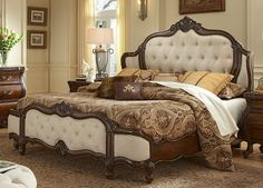 Lavelle Melange Cal King Wing Mansion Bed w/ Fabric Inserts - by Aico