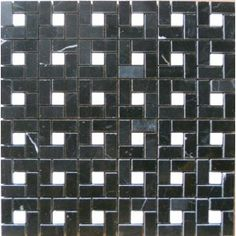 "Tumbled Mini-pinwheel Mosaic, polished Black & White Marble Tile 12""x12"""