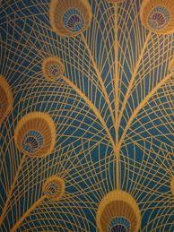 Geometric peacock wallpaper