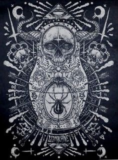 """Wow, I didn't check my Godmachine RSS feed for three days and almost missed this amazing new art print. """"Matryoshka of Doom"""" is a x screenprint, has an edition of and costs Visit his shop. New Poster, Sale Poster, Alchemy, Tarot, Occult Art, Autumn Art, Gothic Art, Skull And Bones, Illustrations"""