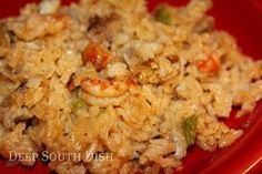 Deep South Dish: Crawfish Rice Dressing | Condensed soup based casseroles were a huge part of a lot our childhoods.  I make a creamy pork and mushroom rice bake to this  day that makes me feel that beautiful home-ish thing.  UPDATE - I made this recipe the other day and made it creamier and more mushroomy.  I sautéed onions, celery and serrano chilis with the bell peppers - used one can of Bertoli Mushroom Alfredo, heavy cream and chopped brown mushrooms for cream elements.   It was GREAT!!