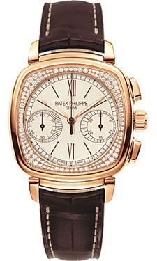 Patek Philippe Ladies First Chronograph Complicated Watches. 18K rose gold case set with 136 diamonds (~0.58 ct.), silvery-white opaline dial with brown painted hour markers, manually wound caliber CH