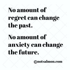 No amount of regret can change the past. No amount of anxiety can change the future. @notsalmon