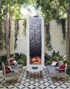 Outdoor seating area with fireplace in Los Feliz.