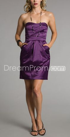 Purple Column Strapless Mini/Short Homecoming Dresses