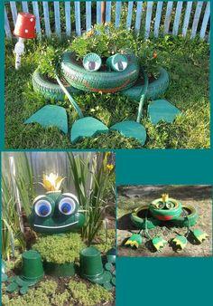 Fun tyres Tire Garden, Garden Bed, Tire Craft, Outdoor Plants, Outdoor Decor, Outdoor Art, Tyres Recycle, Recycled Tires, Nursery Activities