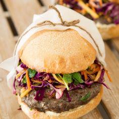 Lamb Burgers with Wasabi Lime Mayo and Mango Slaw By Nadia Lim