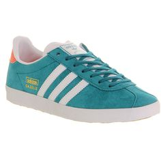 Adidas Gazelle Og W (260 BRL) ❤ liked on Polyvore featuring shoes, hers trainers, power teal solar red, trainers, red shoes, adidas shoes, teal shoes, adidas footwear and teal green shoes