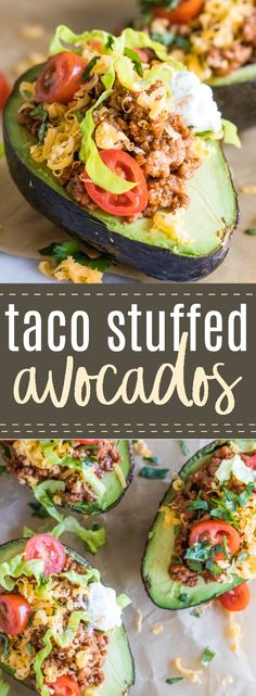 Taco Stuffed Avocados are loaded up with the taco meat, cheese, tomatoes, lettuce and a dollop of sour cream. Perfect for an easy lunch or light dinner.