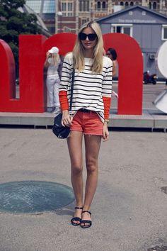 J Brand shorts, Cos knit,Alexander Wang bag,Topshop sandals,Celine sunglasses,Michael Kors watch,Gorjana ringsandJacquie Aiche ring. (image:tuula)