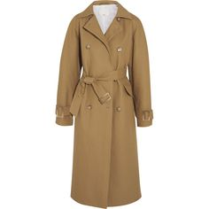 Tibi Oversized cotton-canvas trench coat ($1,595) ❤ liked on Polyvore featuring outerwear, coats, tibi, camel, oversized trench coat, brown coat, double breasted coat, water resistant coat and brown trench coat