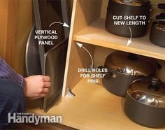 Most kitchen base cabinets lack vertical storage space for big, flat cookware like cookie sheets and pizza pans. To provide it, just remove the lower shelf, cut a vertical panel of plywood and fasten it at the cabinet bottom with furniture braces and at the top with a strip of wood. Drill holes for the adjusting pins to match the original locations and trim the shelf to length.