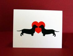 Dachshund Valentine's Day Cards Pack of 4 or 12 by doggydesign ( I want the blank inside)
