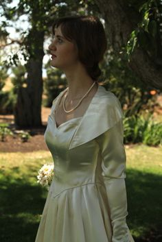 Vintage 1940's Wedding Dress Ivory Satin by almajanes on Etsy