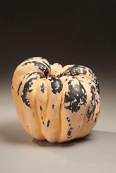 KATSUMATA Chieko (b. 1950) Biomorphic sculpture in the form of a pumpkin with matte glazes in pink, green, 2010 Glazed Shigaraki clay 9 7/8 x 10 x 10 1/4 inches Inv# 6572