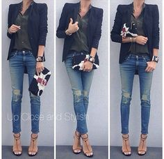 20 Distressed Denim & Ripped Jeans For Women - Fashion Outfit Ideas Mode Outfits, Jean Outfits, Fall Outfits, Casual Outfits, Look Fashion, Autumn Fashion, Womens Fashion, Fashion 2017, Dress Fashion