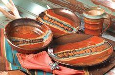 Ranch Kitchens, House Ideas, Nests Dinnerware, Crowe Nests, Southwestern Style, Southwestern Dinnerware, Southwestern Linens, Red Rocks, Southwestern Dishes