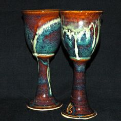 Set of Two Pottery Wine Goblets, Pair of Wheel Thrown Stoneware Chalices