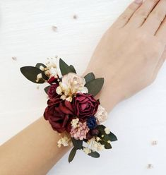Flower wrist corsage is perfect for Burgundy wedding, made with Burgundy and ivory flowers. Wrist corsag is very easy,the fixation on ribbons. Boho Wedding, Floral Wedding, Wedding Colors, Wedding Day, Wrist Corsage Wedding, Bridesmaid Corsage, Prom Corsage, Corsage Formal, Wedding Bridesmaids