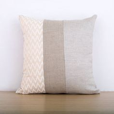cushion cover decorative throw pillow in natural linen and white chevron print Pillow Inserts, Pillow Covers, Natural Linen, Textile Design, Decorative Throw Pillows, Chevron, Cotton Fabric, Diy Projects, Stylish