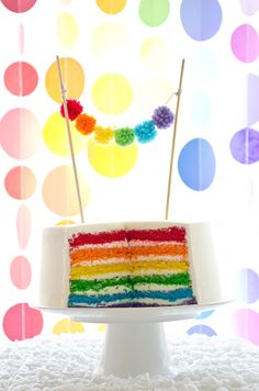 Rainbow Cake with yarn ball bunting on Seriously Daisies