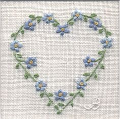 Forget Me Not Heart -  hand embroidery                                                                                                                                                                                 More