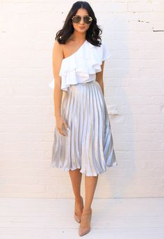Metallic Satin Pleated High Waisted Midi Skirt in Silver - One Nation Clothing