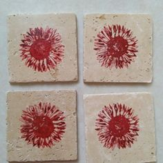 """Set of 4 coasters set of four 4in. X 4in. Natural tumbled travertine coasters. tile stone   -  sunflower stamped on tile  each is backed with felt pads to protect any surface they are placed on.   tile is approximately 4"""" x4"""" x 3/8  These beautiful coasters look great on any surface and are great gifts to add to a basket, wedding gift, or just to give to a friend and family. Other"""