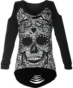 Lost Queen Gothic Skeleton Print with Spine Cut Out Back and Shoulder Extra Length Top