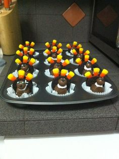 Oreo, Reese peanut butter cup, candy corn, turkeys.
