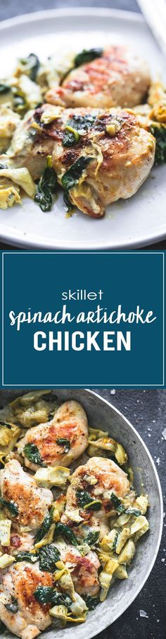If you love spinach artichoke dip, you'll love the flavors and easy prep of this 30 minute skillet spinach artichoke chicken!