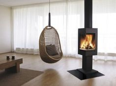 Nordpeis Quadro 1 Wood Burning Stove From Fireplace Products Modern Hanging Chairs, Hanging Swing Chair, Hanging Chair From Ceiling, Hammock Chair, Swinging Chair, Hanging Furniture, Swing Indoor, Hanging Fireplace, Cabin Fireplace