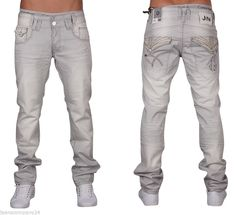 Jeansnet Herren Jeans Hose Crotch Chino Pant Clubwear JN-2073 Grau W29-W38