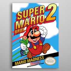 super mario bros 2 detailed, premium quality, magnet mounted prints on metal designed by talented artists. Our posters will make your wall come to life. Poster S, Poster Prints, Framed Prints, Art Posters, 2 Logo, Game Logo, Super Mario Bros, Minecraft Lego, Mario Party Games